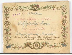 Duettino / L'amore l'affanno. con Recitativo / Del Sig.r D. Luigi Mosca / Nell'Impresario burlato [MANOSCRITTO]