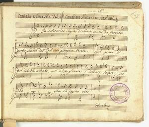 Cantata a Voce Sola Del Sig.r Cavaliere Alessandro Scarlatti [MANOSCRITTO]