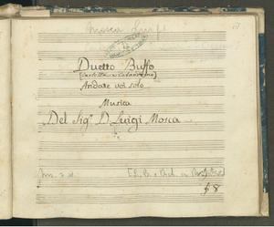 Duetto Buffo   Andate voi solo   Musica   Del Sig.r D.Luigi Mosca