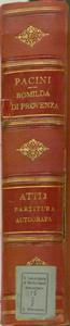 Romilda di Provenza / Tragedia lirica / ... / Musica di G.Pacini / Composta e programmata per il Teatro / S.Carlo / L'autunno 1853 [MANOSCRITTO]
