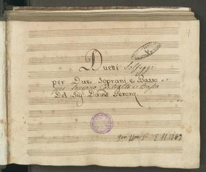 Duetti | per Due Soprani e Basso | Del Sig.r David Perenz