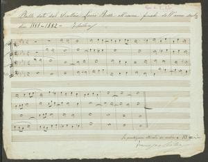 Basso dato dal Direttore Lauro Rossi all'esame finale dell'anno scolastico 1881-1882 F. Cilea