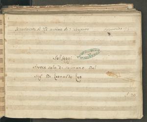 Solfeggi   A voce sola di Soprano del   Sig.r D: Leonardo Leo