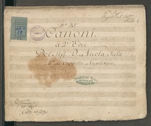 Canoni | a 2.e voci | del sig.re D. Nicola Sala | M.ro di Cappella Napolitano