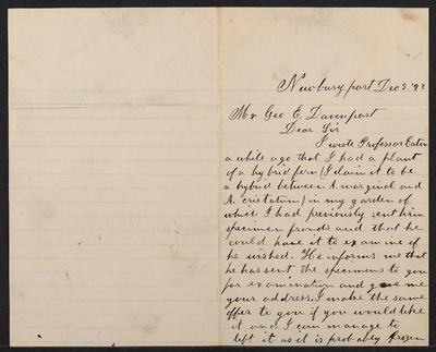 George Edward Davenport correspondence.