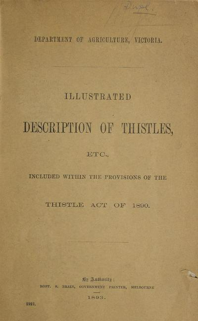 Image from object titled Illustrated description of thistles, etc., included within the provisions of the Thistle Act of 1890