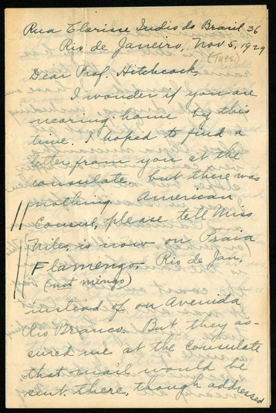Mary Agnes Chase correspondence, 1929 trip to Brazil