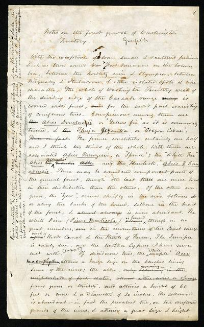 Notes on forest growth in Washington Territory, circa 1860