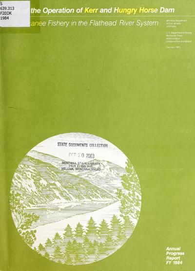 Image from object titled Effects of the operation of Kerr and Hungry Horse Dam on the Kokanee Fishery in the Flathead River system.
