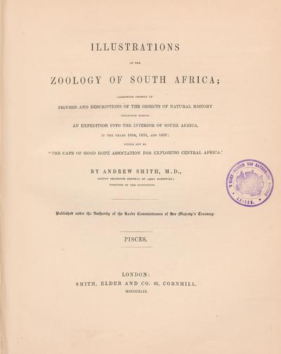 Illustrations of the zoology of South Africa : consisting chiefly of figures and descriptions of the objects of natural history collected during an expedition into the interior of South Africa, in the years 1834, 1835, and...