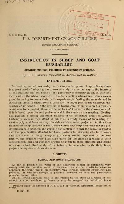 Image from object titled Instruction in sheep and goat husbandry. Suggestions for teachers in secondary schools.