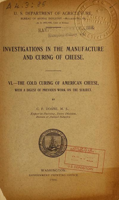 Image from object titled Investigations in the manufacture and storage of cheese. VI. The cold curing of American cheese, with a digest of previous work on the subject /