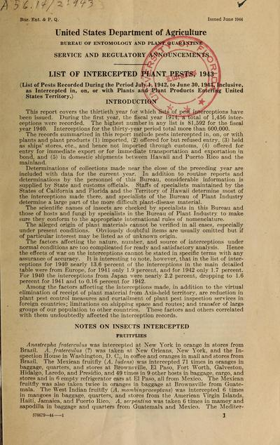 Image from object titled List of intercepted plant pests / United States Department of Agriculture, Plant Quarantine and Control Administration.; List intercept. plant pests