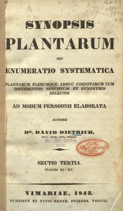 Image from object titled Synopsis plantarum :seu, Enumeratio systematica plantarum plerumque adhuc cognitarum cum differentiis specificis et synonymis selectis ad modum Persoonii elaborata /auctore David Dietrich.; Syn. Pl.