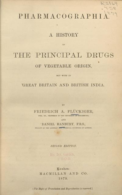 Image from object titled Pharmacographia :A history of the principal drugs of vegetable origin, met with in Great Britain and British India /By Friedrich A. Flückiger, and Daniel Hanbury.