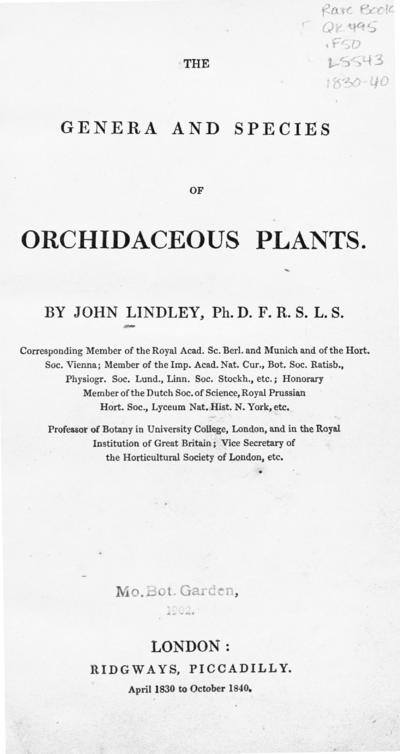 The genera and species of orchidaceous plants / by John Lindley.; Gen. Sp. Orchid.