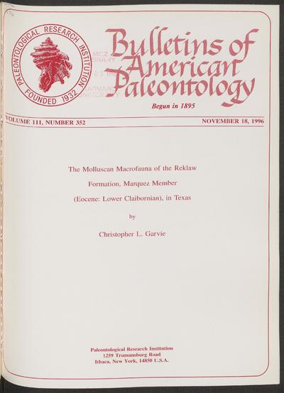 Bulletins of American paleontology.; Bull. Am. paleontol.
