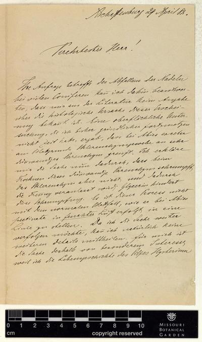 Correspondence : Prantl (Karl) and Engelmann (George), 1882.