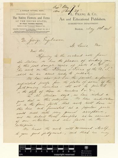 Correspondence : Prang (Louis) and Engelmann (George), 1878.