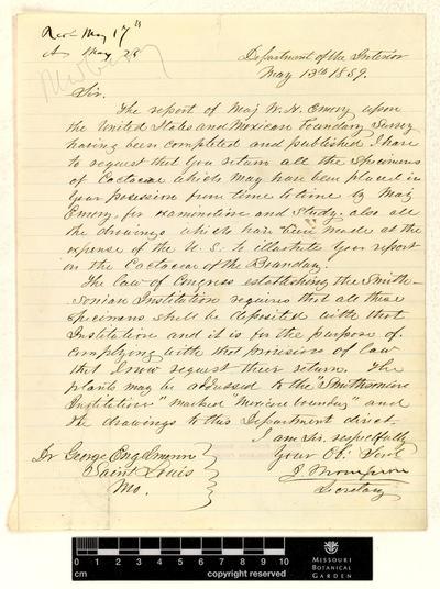 Correspondence : Thompson (Jacob) and Engelmann (George), 1859.
