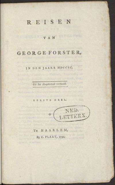 Reisen van George Forster, in den jaare MDCCXC.