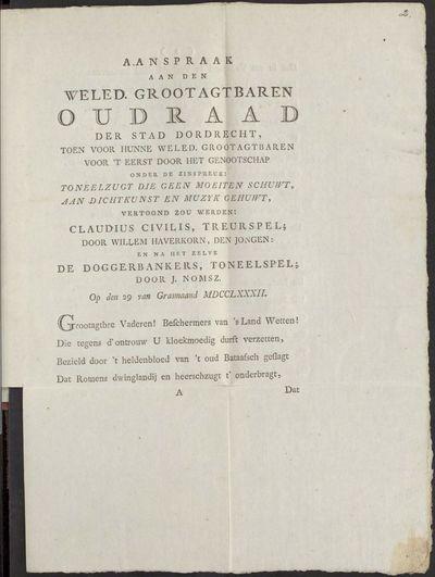 Aanspraak aan den weled. grootagtbaren oudraad der stad Dordrecht.