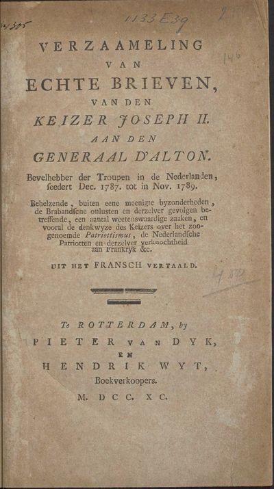 Verzaameling van echte brieven, van den keizer Joseph II. aan den generaal d'Alton.
