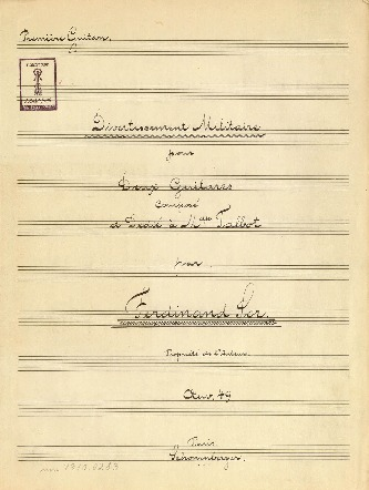 Divertissement Militaire pour Deux Guitares Composé et Dedié à Melle. Talbot par Ferdinand Sor Oeuv. 49...