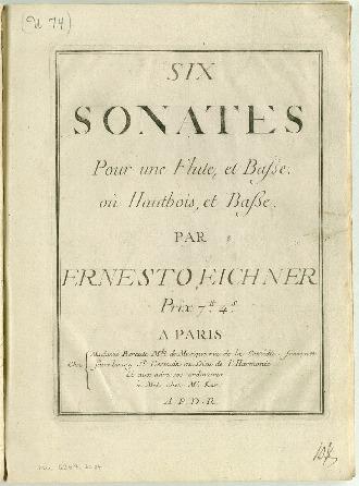 Six sonates pour une flute, et basse : oú hautbois, et basse