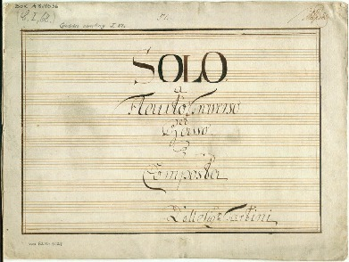Image from object titled Solo a Flauto Traverso et Basso. Composta Dell Sigr Tartini [A]