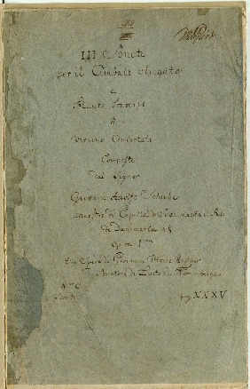 Image from object titled III Sonate per il Cembalo obligato e Flauto Traverso ô violino Concertato Composte dal Signor Giovani Adolfo Scheibe...Opera Ime [D,b,A]Ime...