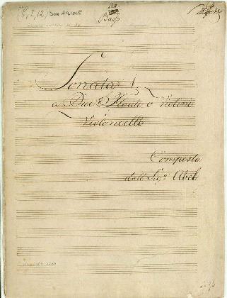 Sonata [Op. III] 1[-6] a Due Flauti o Violini é Violoncello/Composta dal Sigr Abel [G, C, Bb, D, A, Eb]