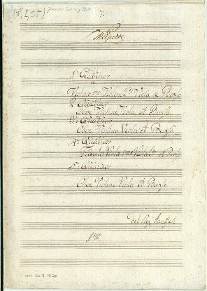 1 Quatour/Violino 1mo/Violino 2do/Viola et Basso/2 Quatour/Oboe. Violino./Viola et Basso. 3 Quatour/Oboe. Violino. Viola et Basso. 4 Quatour/Flauto: Viola Imo Viola 2do et Basso/5 Quatour/Oboe. Violino. Viola et Basso del...