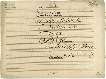 No 1. Quartetto. à Flaûto ò Violino 1mo: Violino 2do: Viola. è Basso Composta dal Sigr Bach...[D]
