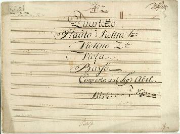 No 2. Quartetto à Flauto ô Violino 1mo: Violino 2do: Viola. è Basso Composta dal Sigr Abel... [F]