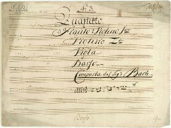 No 3. Quartetto. à Flauto ô Violino 1mo: Violino.2do: Viola. è Basso Composta dal Sigr Bach...[C]
