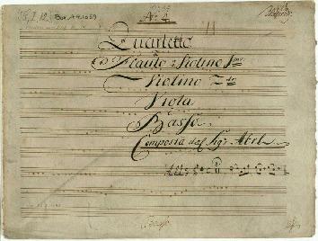No 4. Quartetto à Flauto ô Violino 1mo: Violino 2do: Viola è Basso/Composta dal Sigr Abel...[D]