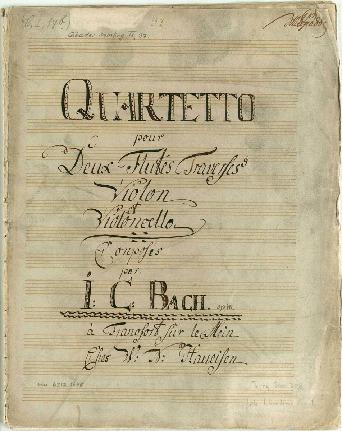 Quartetto pour Deux Flutes Traverses Violon et Violoncello Conposés par. I:C:Bach. op 18...[C]