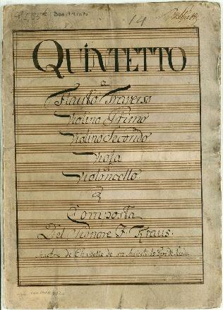 Quintetto a Flauto Traverso/Violino Primo/Violino Secondo. Viola et Violoncello. Composta Del Signore J: Kraus...[D]