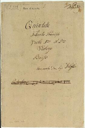 Quintetto/Flauto Traverso/Viola 1mo et 2do/Violino et Basso/Composta dal dal Sigre Klöffler [Eb]