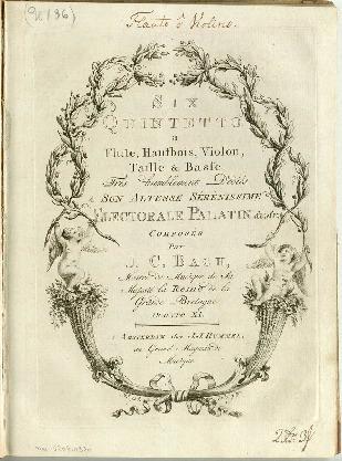 Six quintetto a flute, hautbois, violon, taille & basse...Oeuvre XI