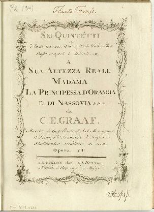 Sei quintetti a flauto traverso, violino, viola violoncello e basso, composti da C. E. Graaf : Opera VIII