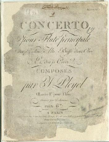 Concerto pour flute principale deux violons, alto, basse deux oboë et deux cors, oeuvre Ir pour flute [C dur]