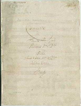 Concerto [Bravoure] à Flauto Principale, Violino Imo & 2do, Viola, Flauto ô Oboe 1mo & 2do, Due Corni et Basso... [D]