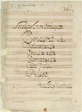 Flauto Trav: Obbligato. Concerto. in Eb. Violino imo è 2do/Oboi imo è 2do. Corno imo è 2do./Alto Viola è Basso. dall Sigr Vanhall