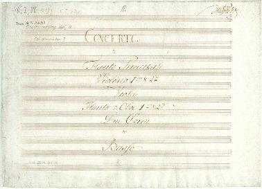 Concerto [Bravoure] à Flauto Principale, Violino 1mo & 2do, Viola, Flauto ô Oboe Imo & 2do, Due Corni et Basso... [D]