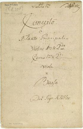 Concerto à Flauto Principale/Violino imo & 2d /Corno imo & 2do/Viola & Basso Dal Sigr: Klöfler [D]