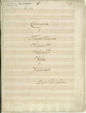Concerto. â Flauto Traverso/Violino imo/Violino 2do/Viola & Violoncello/Dall Sigr: Scheibe [A]