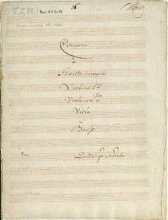 Concerto. â Flauto Traverso. Violino imo/Violino 2do/Viola & Basso Dall Sigr: Scheibe [D]