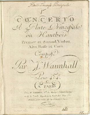 Concerto (I) à flûte principale ou hautbois, premier et second violon, alto, basse et cors